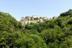 Sorano (Tuscany, Italy). Sorano (Grosseto, Tuscany, Italy), panoramic view of the medieval town Royalty Free Stock Photos