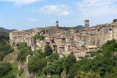 Sorano (Tuscany, Italy). Sorano (Grosseto, Tuscany, Italy), panoramic view of the medieval town Stock Images