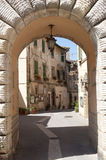 Sorano (Tuscany, Italy). Sorano (Grosseto, Tuscany, Italy), entrance through arch Royalty Free Stock Image