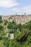 Sorano (Tuscany, Italy). Sorano (Grosseto, Tuscany, Italy), panoramic view of the medieval town Stock Photography