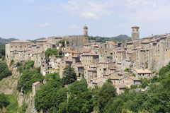 Sorano (Tuscany, Italy). Sorano (Grosseto, Tuscany, Italy), panoramic view of the medieval town Royalty Free Stock Photo