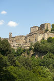 Sorano (Tuscany, Italy). Sorano (Grosseto, Tuscany, Italy), panoramic view of the medieval town Royalty Free Stock Photography