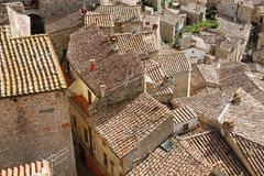 Sorano, Tuscany, Italy. Sorano, Italy - September 17, 2017: Top view of the ancient medieval village of Sorano Stock Photos