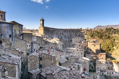 Sorano, tuscany, italy. View of the medieval town on tuff rocky hill Stock Photo