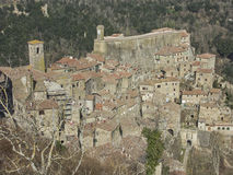 Sorano in Tuscany. Sorano is a small medieval town in southern Tuscany Stock Photos