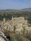Sorano in Tuscany. Sorano is a small medieval town in southern Tuscany Royalty Free Stock Images