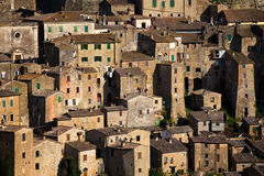 Sorano. View at the old  famous tuff city of Sorano, province of Siena. Tuscany, Italy Royalty Free Stock Photo