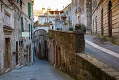 Sorano. View of the streets in the old  famous tuff city of Sorano, province of Siena. Tuscany, Italy Stock Photos