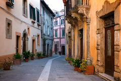 Sorano. View of the streets in the old  famous tuff city of Sorano, province of Siena. Tuscany, Italy Stock Image