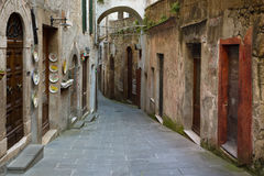 Sorano. View of the streets in the old  famous tuff city of Sorano, province of Siena. Tuscany, Italy Stock Images