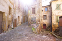 Sorano. View of the streets in the old  famous tuff city of Sorano, province of Siena. Tuscany, Italy Royalty Free Stock Photography