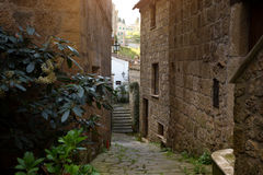 Sorano. View of the streets in the old  famous tuff city of Sorano, province of Siena. Tuscany, Italy Royalty Free Stock Photos
