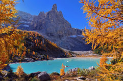 Sorapis with a beautiful lake. Sorapis is part of the beautiful and famous Dolomite Alps. Sorapis is also called The finger of God. After a long walk up to the stock photos