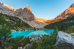 Sorapis lake in Dolomites, Italy. Sorapis lake in Dolomites during summer, Italy Royalty Free Stock Photo