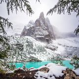 Sorapis lake in dolomiti, italy. The mountain lake Lago di Sorapiss in Dolomite Alps. Italy, with amazing turquoise color of water Royalty Free Stock Image
