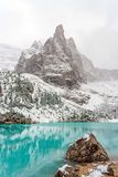 Sorapis lake in dolomiti, italy. The mountain lake Lago di Sorapiss in Dolomite Alps. Italy, with amazing turquoise color of water Stock Photography