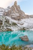 Sorapis lake in dolomiti, italy. The mountain lake Lago di Sorapiss in Dolomite Alps. Italy, with amazing turquoise color of water Stock Photos
