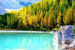 Sorapis lake. Light blu is magic royalty free stock photos