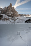 Sorapis Lake. The Sorapis Lake in winter stock photo