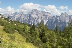 Sorapis massif - dolomite Royalty Free Stock Photography
