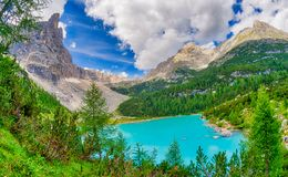 Sorapiss Lake in italian alps, Europe.  Royalty Free Stock Photos