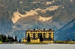 Sorapiss massive and lake of Misurina day, Italian Dolomites. Lake Antorno and Tre Cime of Lavaredo south face in Italy Alps, Tre Cime Di Lavaredo, Dolomites Royalty Free Stock Photography