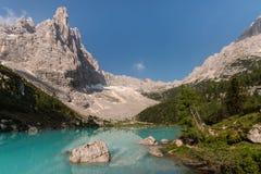 Sorapiss peak and lake in Dolomites. Italy Stock Photo