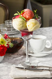 Sorbe t. Ice glass fruit frozen sorbet stock photography