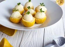 Sorbet ή παγωτό λεμονιών μέσα στα φρέσκα λεμόνια Στοκ εικόνες με δικαίωμα ελεύθερης χρήσης