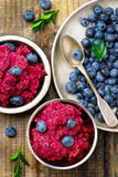 Sorbet from bilberry. In metal vases and fresh blueberry in a bowl. style vintage. selective focus Royalty Free Stock Photography