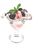 Sorbet decorated. A sorbet decorated with some mint Stock Image