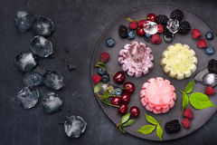 Sorbet ice cream with berries on a black background, top view Stock Photography
