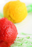 Sorbet from orange and strawberry Stock Image