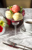 Sorbet. Refreshment, plate peach mint bowl berry Royalty Free Stock Photo