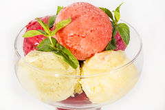 Sorbet. Refreshment, plate peach mint bowl berry Royalty Free Stock Photography