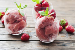 Sorbet with strawberry and mint Stock Photography