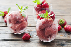 Sorbet with strawberry and mint Stock Photo
