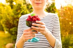 Sorbete en las manos de la muchacha - postre de restauraci?n de la frambuesa del verano fotos de archivo