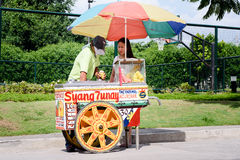 Sorbetes on the go. Beat the summer with ice cream in the Philippines stock photo