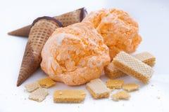 Sorbetto arancio del gelato Fotografia Stock