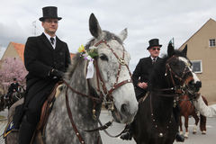 Sorbian Easter Riders in Upper Lusatia, Saxony, Germany. CROSTWITZ, GERMANY - APRIL 8, 2012: Easter Riders attend the Easter ceremonial equestrian procession in Royalty Free Stock Images