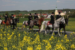 Sorbian Easter Riders in Upper Lusatia, Saxony, Germany. CROSTWITZ, GERMANY - APRIL 24, 2011: Easter Riders attend the Easter ceremonial equestrian procession Royalty Free Stock Photo