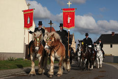Sorbian Easter Riders in Upper Lusatia, Saxony, Germany. RALBITZ, GERMANY - APRIL 8, 2012: Easter Riders attend the Easter ceremonial equestrian procession in Royalty Free Stock Photos