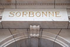 Sorbonne Engraving Stone Royalty Free Stock Photo