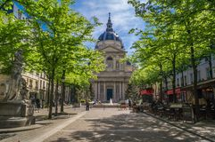 Sorbonne university in Paris. Sorbonne university main building and square in Paris in spring stock image