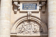 Sorbonne University Paris France. Detail of the facade of the law school building of Sorbonne University in downtown Paris, France Stock Images