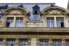 Sorbonne University, Paris France. A photograph showing a detailed portion of the famous University of Sorbonne in Paris, France.  Historical building with Stock Image