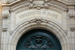 Sorbonne University in Paris. Name is derived from College de Sorbonne, founded in 1257 by Robert de Sorbon as one of the first colleges of medieval University Stock Photo
