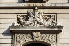 Sorbonne University in Paris. Name is derived from College de Sorbonne, founded in 1257 by Robert de Sorbon as one of the first colleges of medieval University Stock Photography