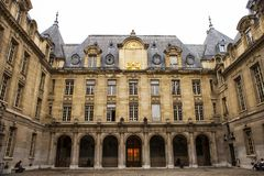 Sorbonne University in Paris. PARIS, FRANCE - JULY 10, 2014: The University of Paris  Universite de Paris , Sorbonne university, famous university in Paris Stock Photos